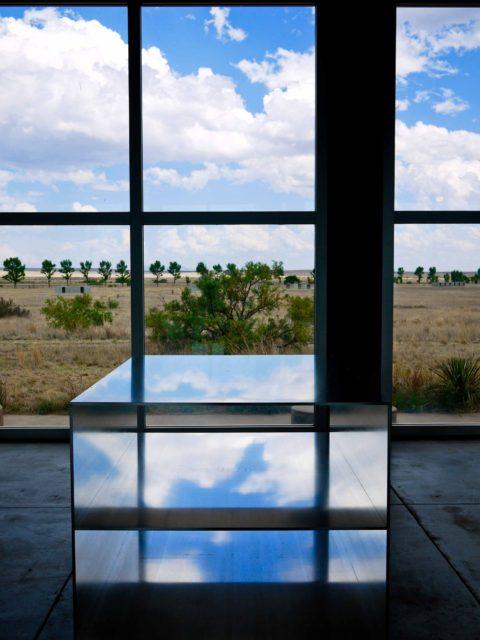 sky reflected in donald judd aluminum